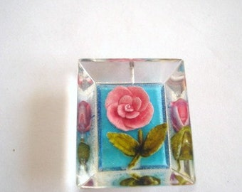 Pink Rose Flower  Clear Lucite Pendant