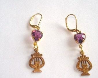 Music Amethyst Heart Crystal  Stone  Earrings Gold Tone Filigree