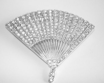 Signed Ora Clear Rhinestone Fan Brooch Silver Tone