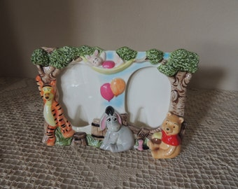 Winnie the Pooh and Disney Characters Ceramic Photo Frame.  Eeyore, Tigger and Piglet Made in Japan Children's Room Figurines.