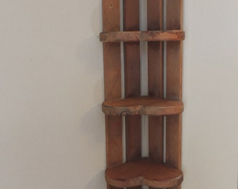 Country Knotty Pine Five Shelf Heart Shaped Corner Shelf.  Vintage Country Heart Stained Free Standing Wall Unit