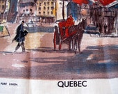 Tea Towel, Pure Linen, Quebec, Hotel Frontenac, Lamont, Tourist, Collectable, Cotton, by mailordervintage on etsy