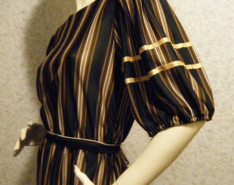 Vtg 1970s Autumn Gold and Brown stripe Day Dress size 16 Large XL