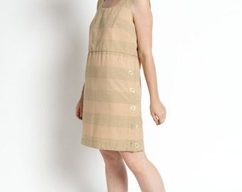 Vintage 60s Neutral Tan Plaid Sleeveless Shift Dress with Side Buttons | M