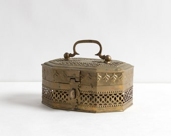 Vintage Cutout and Embossed Indian Brass Box with Top Handle