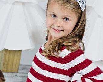 Silver And White Sequin Bow Headband, Girls White Headband, Holiday Bow Headband, Girls Hair Bow, Christmas Hair Bow, White Sequin Hair Bow
