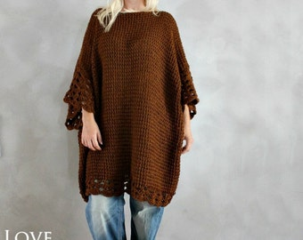 Plus Size Tunic Dress Oversized Sweater Brown Plus Size Sweater Oversized Tunic Hand Knit Sweater Handmade Oversized Pullover