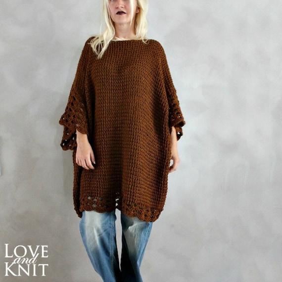 Plus Size Tunic Dress Oversized Sweater Brown Plus Size
