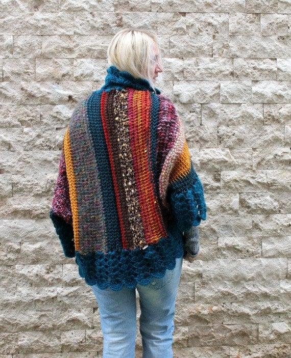 Hand Knitting Patterns For Women : Bohemian cardigan hand knit womens
