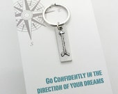 Arrow keychain, arrow bar key ring -graduation gift,  graduate gift college graduation,  Go confidently in the direction of your dreams