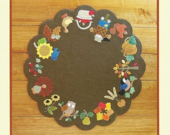 "Wool Table Mat Pattern Thanksgiving Turkey FALL GATHERINGS from Brandywine Designs 21"" x 21"" Pumpkin Duck Owl Sunflower Applique"