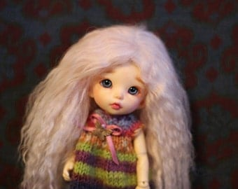 Sweet Light Pink mohair wig for Pukifee / Lati Yellow / other small doll