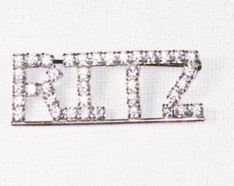 Vintage Ritz Clear Swarovski Crystal Rhinestone Silver Tone Brooch Pin (B-3-7)