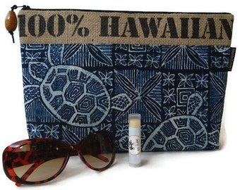 MTO. Custom. 100% Hawaiian Burlap Clutch. You Request Fabric Motif & Color Preference. Repurposed Kauai Coffee Sack. Handmade in Hawaii.