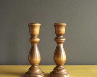 Favorite Candlesticks - Set of Two Vintage Turned Wooden Candlesticks