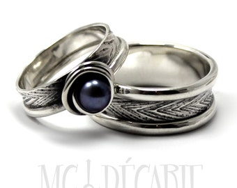 His and Hers: two textured bands, one with a pearl, 2 engravings or textures included on each ring, wedding bands, promise rings, engagement