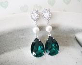 Reine - Swarovski Teardrop Crystal Earrings, Bridal Wedding Earrings, Bridesmaid Earrings, Swarovski Crystal Drops, Pearl, Cubic Zirconia
