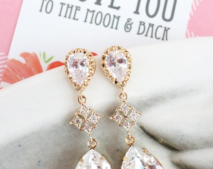 Penelope - Cubic Zirconia Swarovski Teardrop Crystal Earrings, Bridal Jewelry Earrings, Bridesmaid Earrings, Champagne Gold Wedding Jewelry