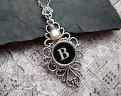 Typewriter Key Necklace Initial B