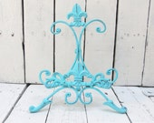 Turquoise Blue Easel, Metal Easel, Book Stand, Art Prop, Shabby Cottage Chic, Fleur De Lis, Parisian Chic, French Country, Paris Apartment