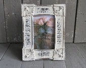 Vintage Hand Painted Frame, Shabby White Frame, 4x6 Frame, Cottage Style Home Decor, Framed Rose Print, Shabby and Chic, French Country