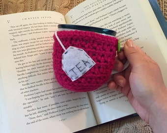 Tea bag mug holder, mug of tea, tea mug,cup cozy, crochet mug cozy, tea, tea lover, gift, mug cozy, teacher mug, knitted mug cozy