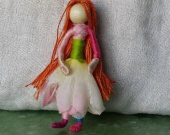 Back to school pocket pal, 2 inch mini Flower Fairy, Art Doll, 2 inch doll, Waldorf, Art Doll, Worry Doll