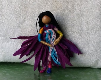 Apple Fairy doll,  2 inch mini Flower Fairy, Art Doll, 2 inch doll, Waldorf, Art Doll, Worry Doll