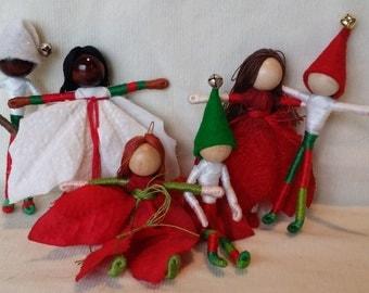 Fairy Dolls - set of 6 fairies or elves, Garden Fairies, Flower Fairies,  Fairy Ornaments, Flower Fairies, Elves, Waldorf Doll,