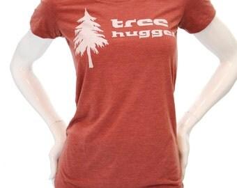 Tree Hugger| Women's slim cut T Shirt| Soft & Lightweight| Art by Matley| Gift for her| Scoop and Vneck| Zen| Yoga| Nature.