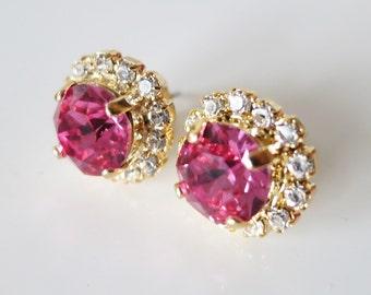 Pink stud Earrings,Swarovski Earrings,Pink Rose Earrings,Pink Bridal studs,Pink Ear Studs, Statement Pink Crystal Jewelry,Pink Wedding Studs