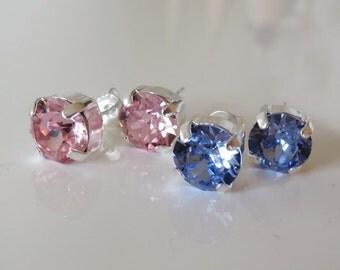 Pink ear studs,Pink stud earrings,Swarovski pink Crystal Stud Earrings,Pink studs,Pink  Earrings,Pink Bridal ear Studs,Wedding posts,Minimal