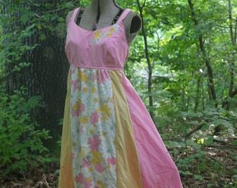 Tea Party Floral DressHippie Dress Patchwork Dress Vintage Fabric Maxi Dress Sundress Fairy Tour Dress  Plus Size Knottymama  size 18