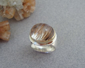Rutilated Quartz Ring in 18k Gold and Sterling, Rusty Red Rutile in Clear Quartz, High Dome Ring
