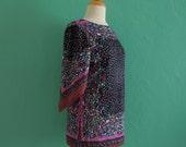 70's black floral handkerchief top ~ small medium