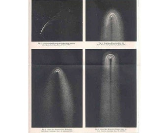 1894 ANTIQUE COMETS LITHOGRAPH  original antique celestial astronomy comet  print