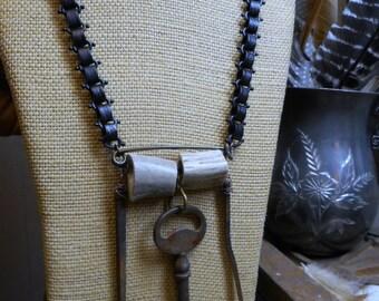 The Blacksmith's Workshop of Antler Hill Village. Antique Skeleton key, Blacksmith Naisl & Genuine Deer Antler Necklace Gothic Bookchain