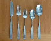Modern Stainless Towle Lauffer Bedford Pattern Flatware - Five Full Settings and Serving Spoon