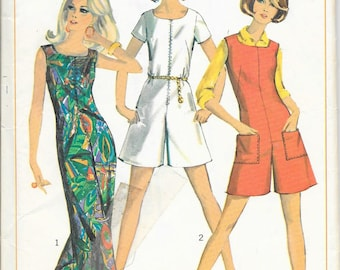SIMPLICITY 7000 Size 12 Bust 32 Vintage 1960's Jumpsuit Romper Shorts Pants Sleeveless Short Sleeves Zip Front Back Pattern