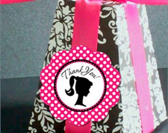 Barbie Vintage Retro Favor Tag Thank You Sticker Party Printable - Stick to Your Story