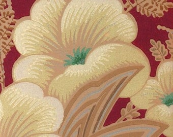 vintage mid century hibiscus wallpaper illustration digital download