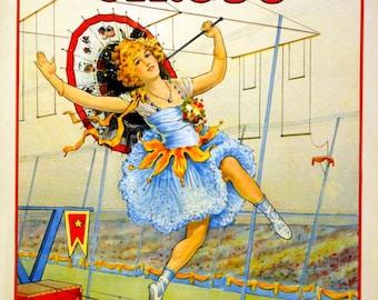 vintage art deco woman funambulist acrobat circus act illustration digital download