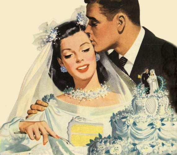vintage illustration bride and groom cutting wedding cake