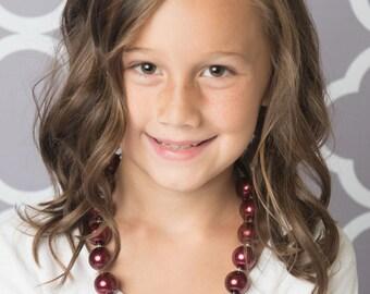 burgundy necklace, cream bubblegum necklace, little girl necklace, chunky bead necklace, bubble gum necklace, toddler necklace baby girl