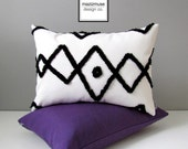 Beni Ourain Outdoor Pillow Cover, Decorative Black & White Throw Pillow Case, Tribal Moroccan Decor, Modern Bohemian Cushion Cover Sunbrella