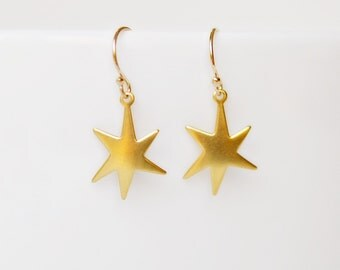 Gold star earrings, small gold drop earrings, brass, lucky star dangles, everyday, simple, minimalist jewelry, littleglamour - Destiny