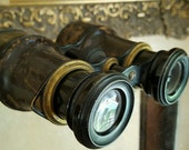Antique Binoculars Leather Wrapped Brass Field Glasses