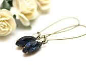 Estate Swarovski Dark Montana Blue Marquise Crystal Dangle Earrings on Antique Brass | Rich Blue Long Drop Earrings | Handmade by Azki