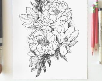 Adult Coloring Page - Peonies and Magnolias- Instant Download- Print Your Own Coloring Pages