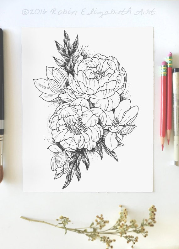 Adult Coloring Page Peonies And Magnolias Instant Download